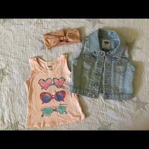 Baby girl light wash jean vest